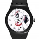102 Dalmatians Cute Happy Puppy ICE Style Round TPU Medium Sports Watch-Black