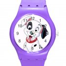 102 Dalmatians Cute Happy Puppy ICE Style Round TPU Medium Sports Watch-Purple