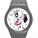 102 Dalmatians Cute Happy Puppy ICE Style Round TPU Medium Sports Watch-Grey