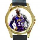 Kobe Bryant Art Portrait Unisex Round Gold Metal Watch