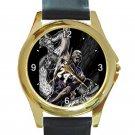 Kobe Bryant Mamba Painting Unisex Round Gold Metal Watch