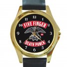 5FDP 5 Finger Death Punch With Eagle Logo Unisex Round Gold Metal Watch