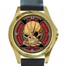Five Finger Death Punch Decade Of Destruction Logo Unisex Round Gold Metal Watch