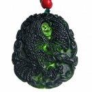 Hand carved natural black green jade eagle charm men pendant necklace gift
