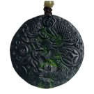 Hand carved natural black green jade dragon charm men pendant necklace gift