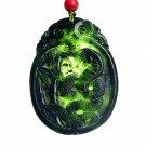 Hand carved natural black green jade snake charm men pendant necklace gift