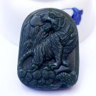Hand carved natural Hetian Qingyu Zodiac tiger amulet charm pendant necklace gift