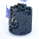 Hand carved natural Hetian Qingyu dragon Phoenix amulet charm pendant necklace gift