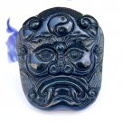 Hand carved natural Hetian Qingyu Ghost head amulet charm pendant necklace gift