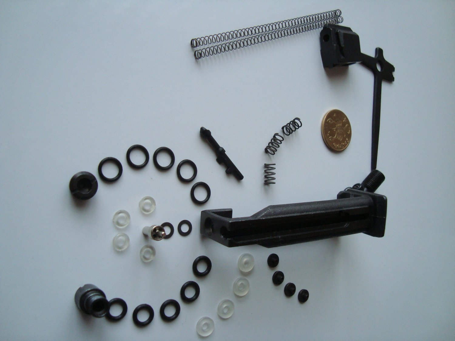 Magazine for MP-654K with repair details: valve, air-bulb, o-rings, saddle, screw, kit made to order