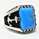 Handmade 925 Sterling Silver Anchor Motif Turquoise Ring