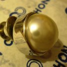 CABOUCHON Brooch Faux Pearls Gold Plated