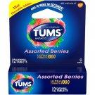 TUMS Ultra Strength Antacid 1000mg Calcium Carbonate Assorted Berries,12 Ct