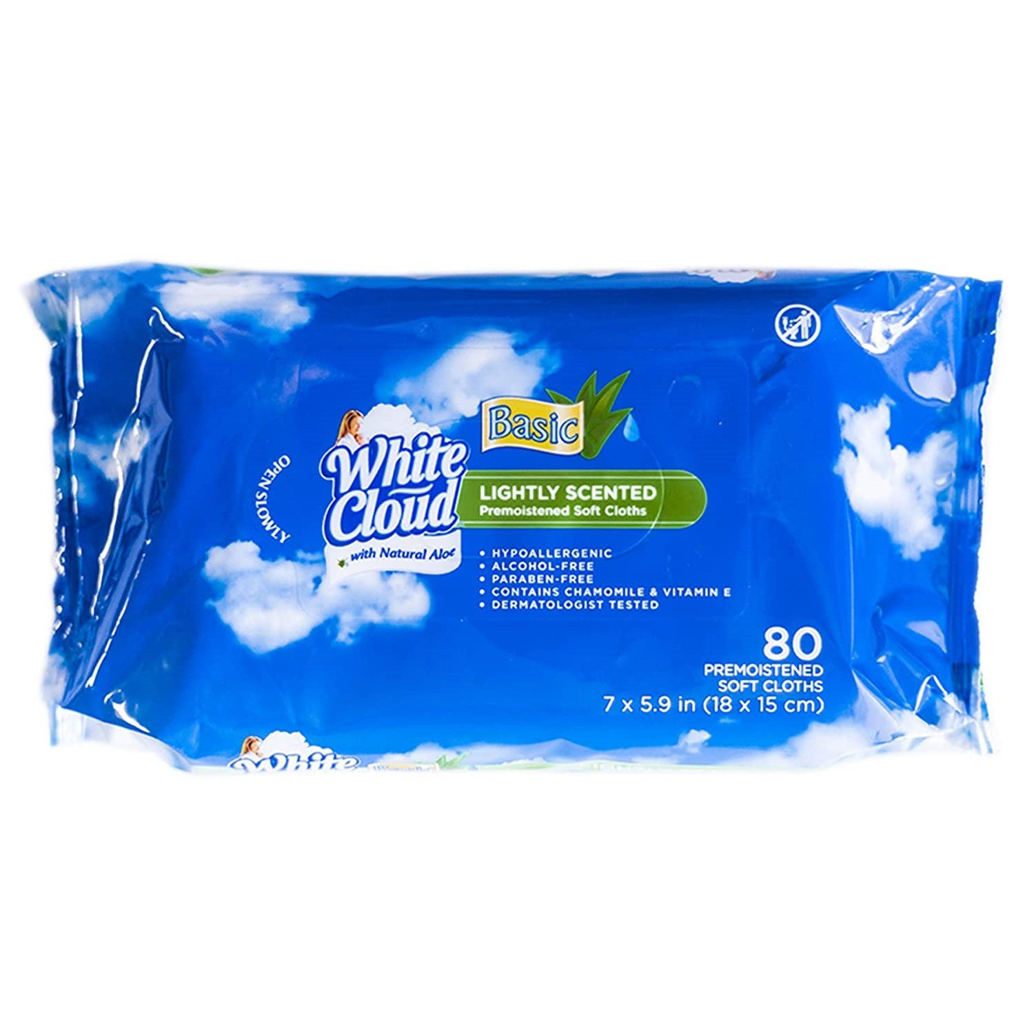 White Cloud Basic Lightly Scented Pre-Moistened Soft Cloths, 80 ct