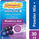 Emergen-C Immune Plus 1000 mg Vitamin C + D3 & Zinc Drink Mix Blueberry Acai - 30 pk