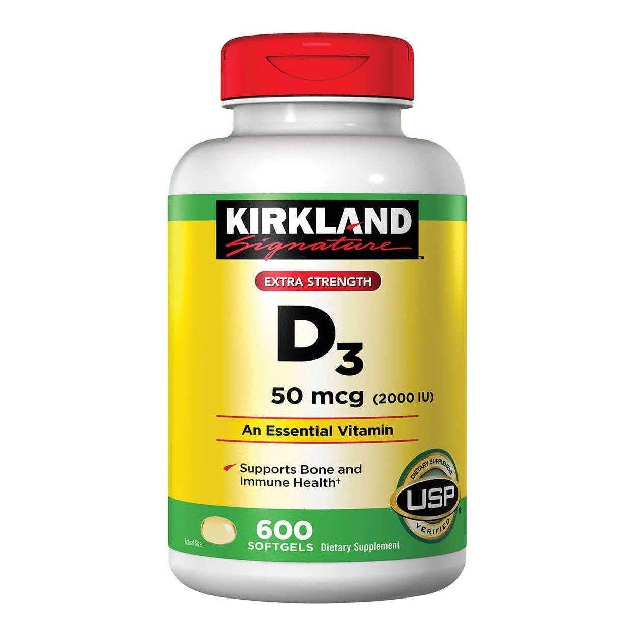 Kirkland Signature Extra Strength Vitamin D3 50 mcg, 600 Softgels - Vitamin D Bone & Immune Health
