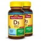 Nature Made Vitamin D3 1000 IU (25mcg) Softgels, 2X100 Count Twin Pack for Bone Health