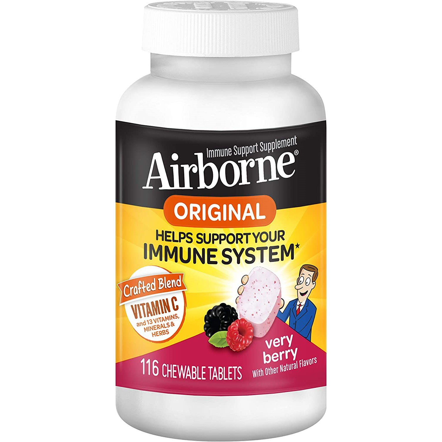 Airborne Original Immune Support Chewable Tablets 116 ct Very Berry, 1000 mg Vitamin C per serving