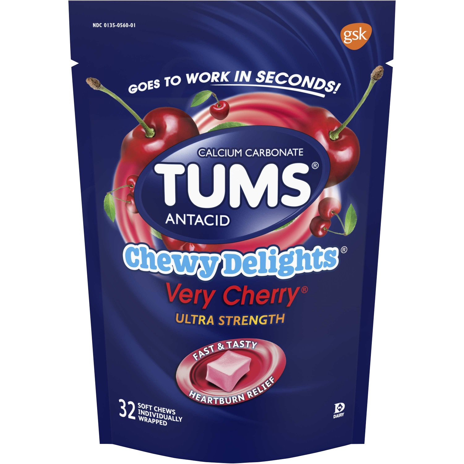 TUMS Chewy Delights Ultra Strength Antacid Soft Chews - Verry Cherry - 32 ct