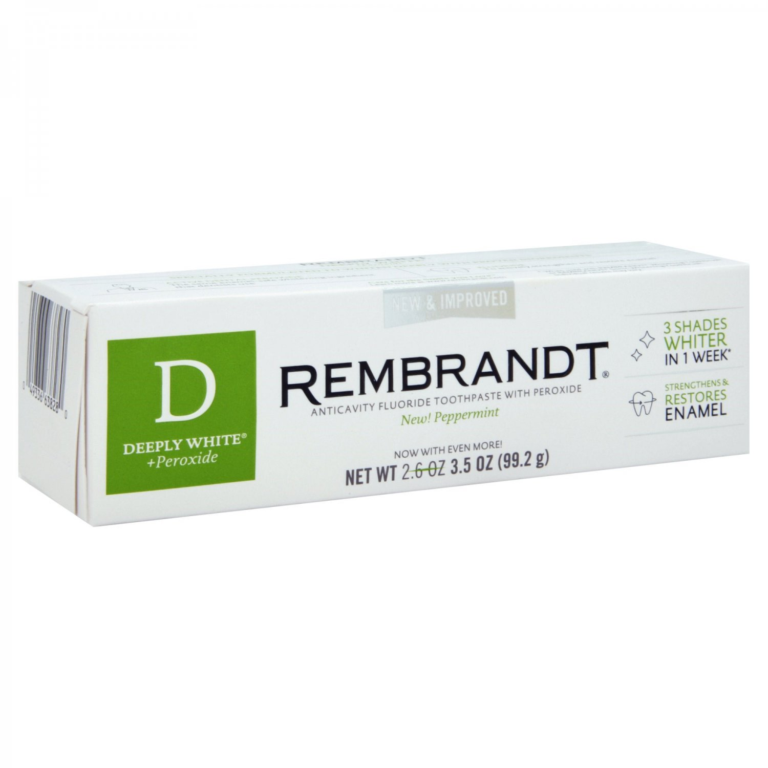 Rembrandt Anticavity Fluoride Toothpaste, 3.5 oz (99.2 g), Peppermint, Deeply White + Peroxide