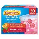 Emergen-C Immune Plus Vitamin C Drink Mix, Super Orange + Raspberry, 50 Packets