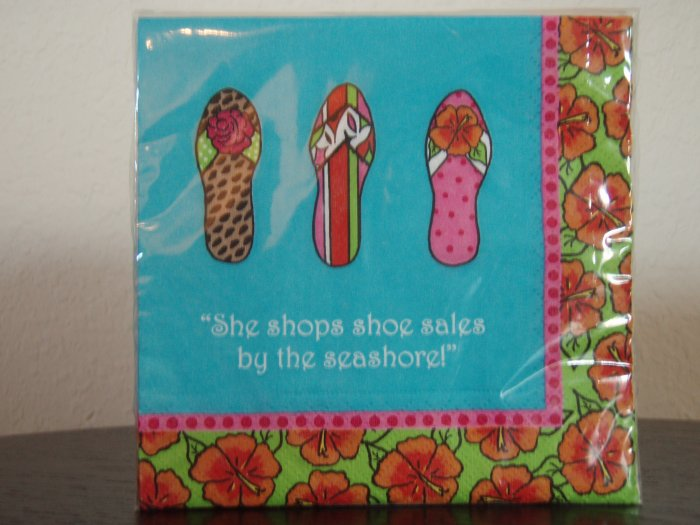"Beverage Napkins. ""She Shops Shoe Sales by the Seashore!"""