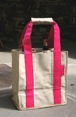 """Fine Whines"" Party To Go Tote Pink/Tan"