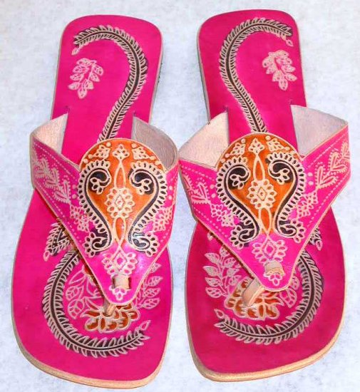 Indian Shantiniketan Print Colorful Chappal Sandal Pink 40