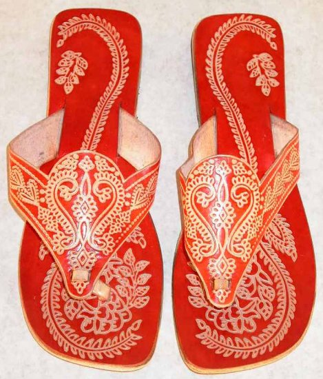 Indian Shantiniketan Print Colorful Chappal Sandal Brown 38
