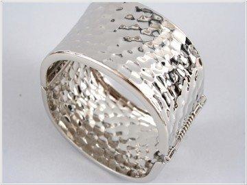 Silver Metal Fold-Over Bracelet