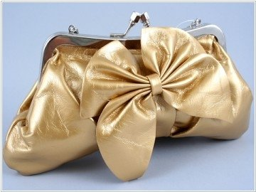 Gold Leather Clutch with Bow