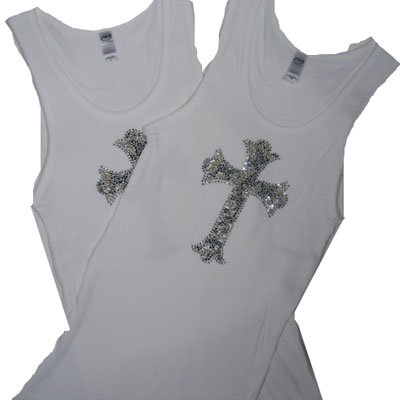 Crystal Design Fitted Tank  / White with Leopard Cross