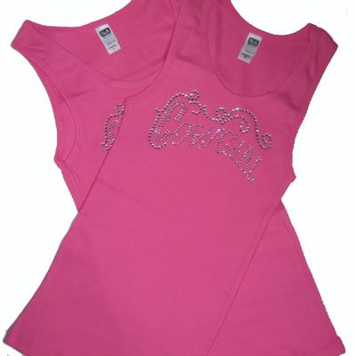 Crystal Design Fitted Tank  / Pink Cowgirl!