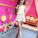Low Cost Fashion And Charming Striped Printed Pearl Ruffle Split Korean Dress
