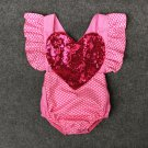 Summer Sequined Pink Print Infant Rompers