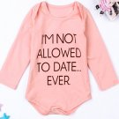 Letters Print Long Sleeve Rompers For Girls