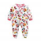 Lovely Printed Button Up Long Sleeve Infant Romper
