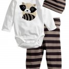 Cartoon Infant Onesie Striped Pants With Hat