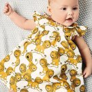 Cartoon Lion Printed Sleeveless Baby Girls Sets