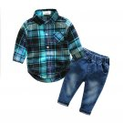 Tartan Long Sleeve Onesie With Jeans Boys Outfits