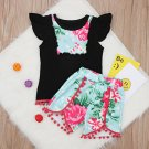 Stylish Patchwork Ruffles With Floral Short Pants
