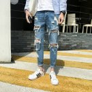 Chic Solid Fitted Versatile Beggar's Ninth Ripped Jeans