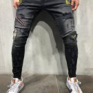 Patch Denim Gray Distressed Jeans