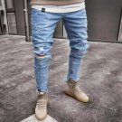 Casual Style Printed Ripped Jeans For Men