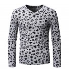 Fitted V Neck Printed Casual Long Sleeve T-shirt