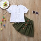 Puff Sleeve Button Up Contrast Color Girls Outfits