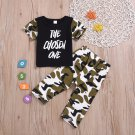 Camouflage Patchwork Letter Printed Boys 2 Piece Sets