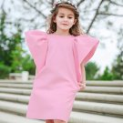 Solid Round Neck Puff Sleeve Sweet Girls Dresses