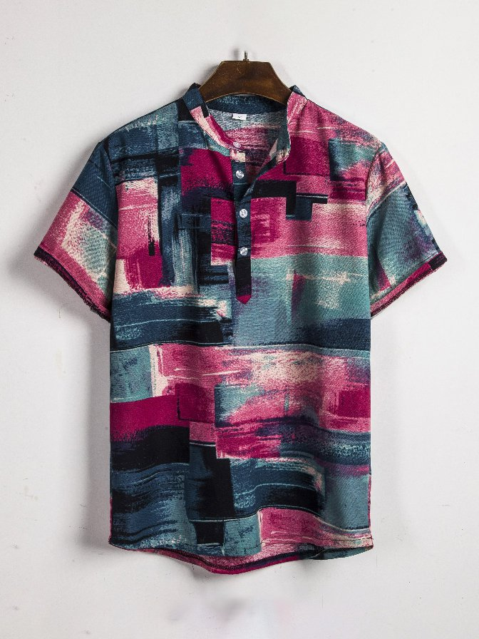 Contrast Color Button Up Men Short Sleeve Shirt