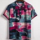 Contrast Color Button Up Men Short Sleeve Shirt